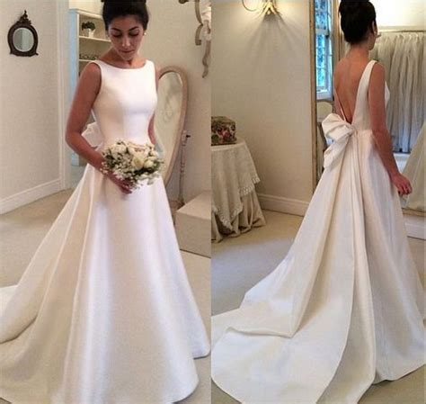 simple a line wedding dress high neck simple backless a line satin wedding dress with ribbon vestidos de noiva 032 in