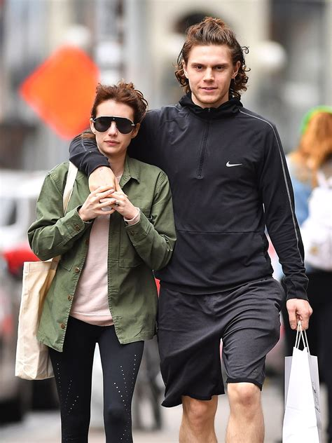 Emma Roberts and Evan Peters Twin With Matching Topknots ...