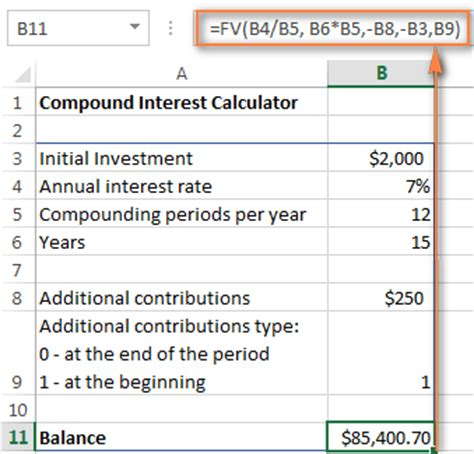 compound interest excel compound interest formula and calculator for excel