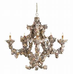 Oyster shell nautical light chandelier kathy kuo home