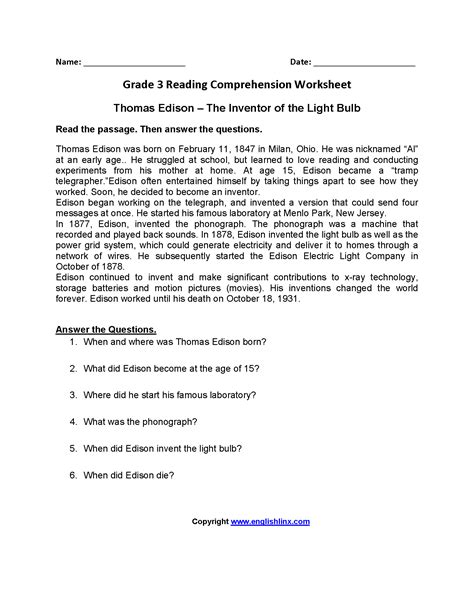 3rd grade reading comprehension worksheets pdf worksheets