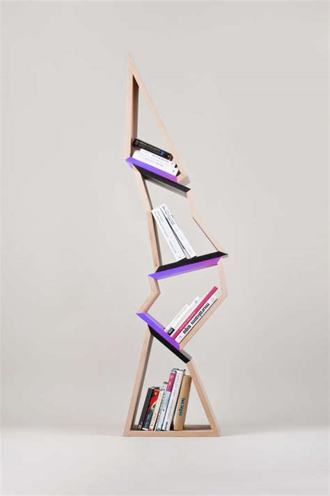 abstract angular bookcases chopped tree bookshelf
