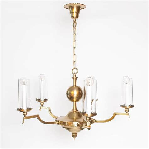 swedish deco five arm brass chandelier with