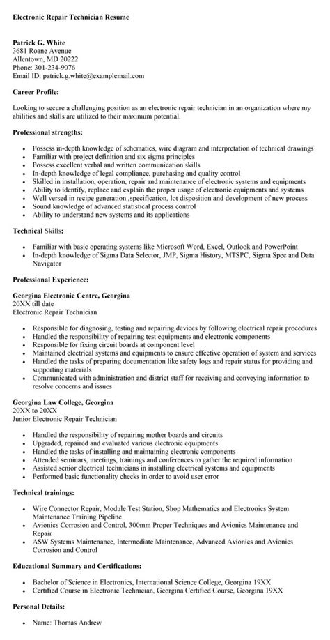 Electronic Technician Resume Template by Electronics Technician Quotes Quotesgram