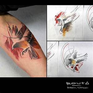 Black Bird Tattoo With Tree Tattoo On Front Shoulder