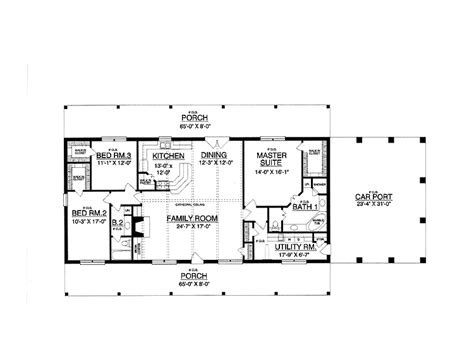ranch style house plan  beds  baths  sqft plan   rectangle house plans