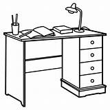 Coloring Desk Para Colorear Mesa Task Escritorio Estudio Desktop Tareas Template October sketch template