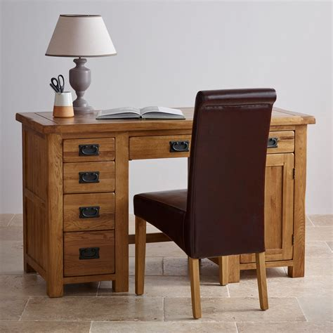 original rustic computer desk in solid oak oak furniture land