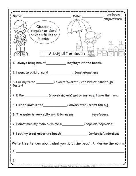 usable worksheet for singular and plural for grade 1