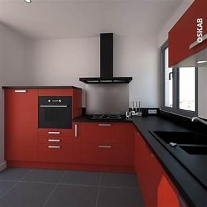 1000 ideas about plan de travail noir on pinterest for Cuisine rouge et noir