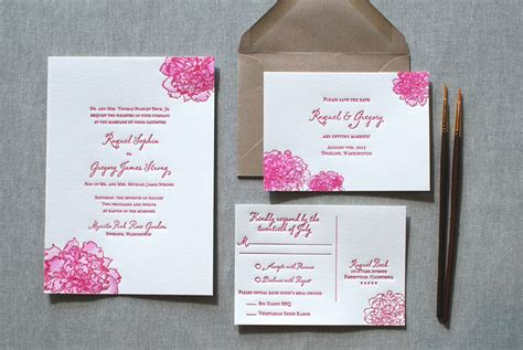 watercolor letterpress wedding invitations from the