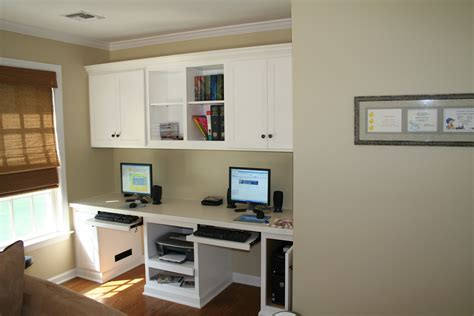 double desk home office heavenly custom wall mounted white cabinet over white