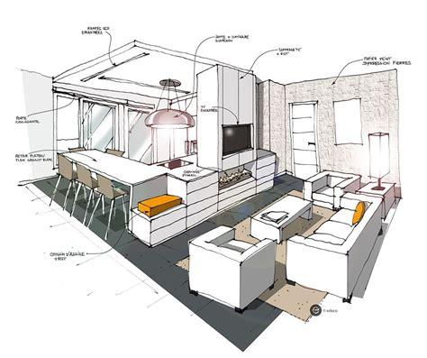 croquis cuisine cuisine ouverte sur salon blanc croquis architecture intérieure dominique jean pour edeco