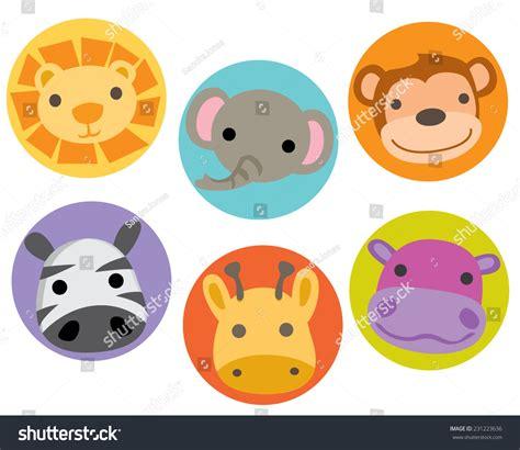 safari jungle zoo animal characters faces stock vector 231223636