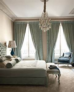 Bedroom blue chandelier curtains decor image