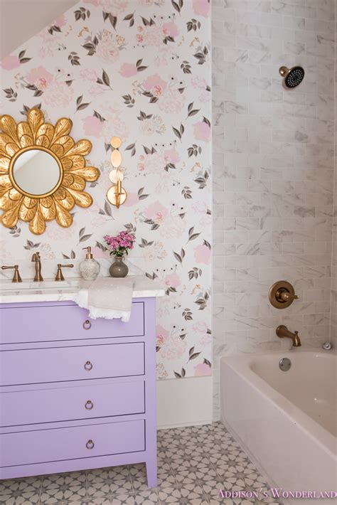winters gorgeous floral wallpaper bathroom reveal