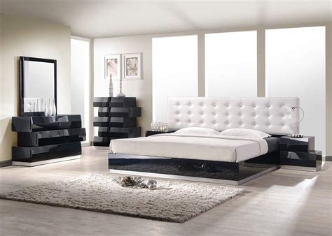 black leather platform bed contemporary style bedroom set with white leatherette