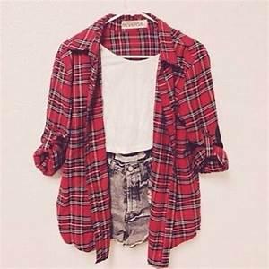 Shirt red plaid shorts flannel shirt plaid shirt jacket cute tartan summer ahh pretty ...