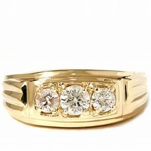Mens 3 4ct three stone diamond wedding anniversary ring for Mens diamond wedding rings yellow gold