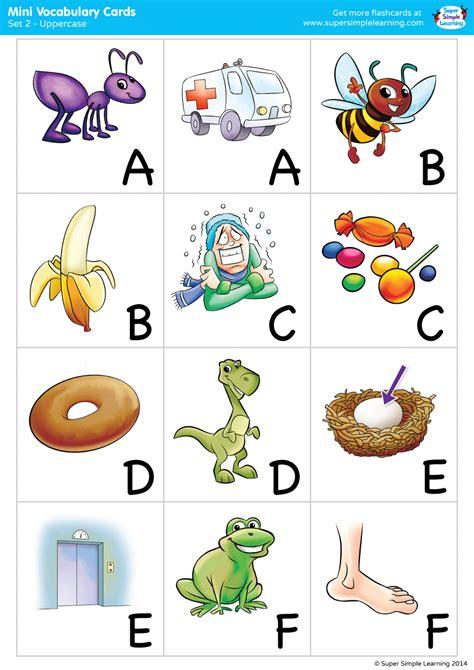 alphabet vocabulary mini cards set  uppercase super
