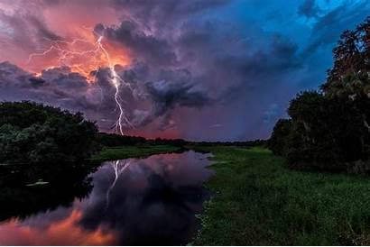 Storm Clouds Forest Lightning River Trees Landscape