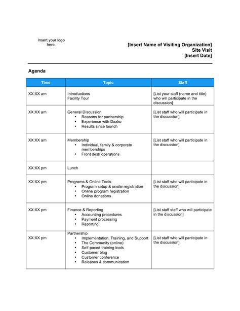 corporate visit agenda templates  allbusinesstemplatescom