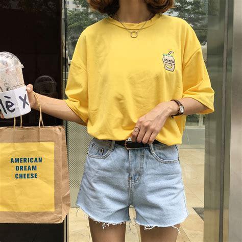Aliexpress.com  Buy 2016 Summer New Cute Banana Milk Embroidered Simple All Match Short Sleeve ...