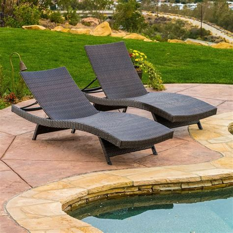 Chaise Lounge Pool Chairs set of 2 outdoor patio pool wicker chaise lounge chairs ebay