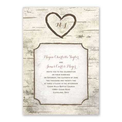 birch tree carving invitation   response postcard