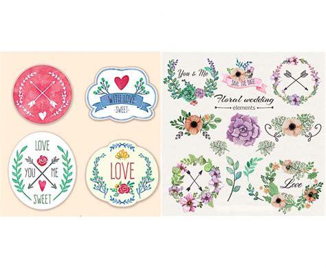floral wedding badges set vector
