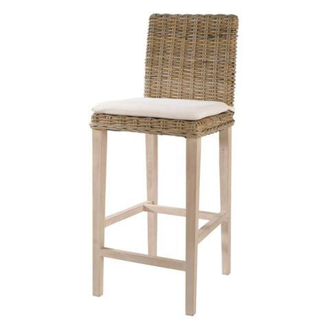 chaise haute en rotin chaise de bar en rotin et mahogany massif grisée key