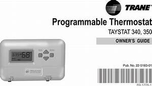 Trane 340 Users Manual 69 1228 Programmable Thermostat
