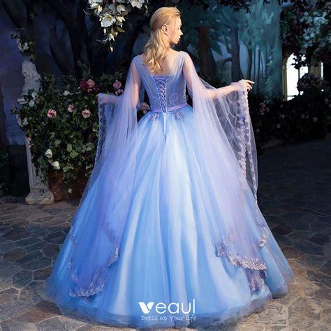 Elegant Pool Blue See-through Prom Dresses 2019 Ball Gown ...