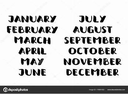 Months Names Calendar Handwritten Template Calligraphy Written