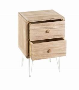 Table De Chevet Etroite : table de chevet en bois de paulownia et pieds m tal blanc 2 tiroirs ~ Teatrodelosmanantiales.com Idées de Décoration