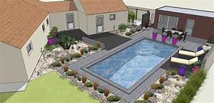 Mini Pool Terrasse : conception d 39 un jardin sec compos de plusieurs terrasses en bois composite et en dalle carrel ~ Orissabook.com Haus und Dekorationen