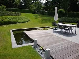 terrasse paves et bois avec bassin a l39angle terrasses With decoration jardin zen exterieur 0 realisations paysagiste amenagement jardin amenagement