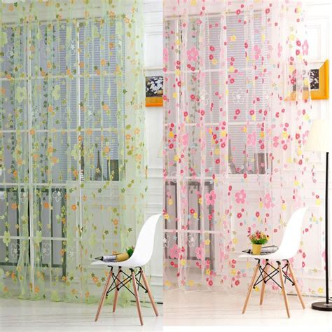 floral print sheer curtain panel window balcony tulle room