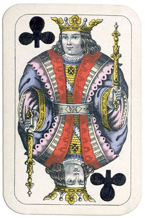 The king card in a suit depicts as the viceroy cards seated on thrones. King of clubs XIX century Wienerbild deck by Titze Schinkay | Cards, Club card, Playing cards