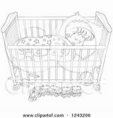 Crib Sleeping Coloring Clipart Boy Bed Crip Toddler Template sketch template