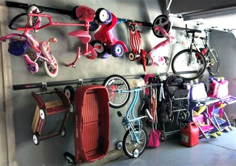 Garage Organization Ideas For Bikes by Garage Storage For Bikes Scooters Ride Ons Etc