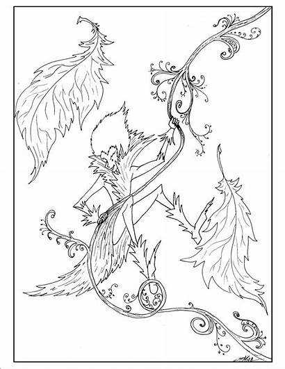 Coloring Fantasy Pages Elf Swinging Place