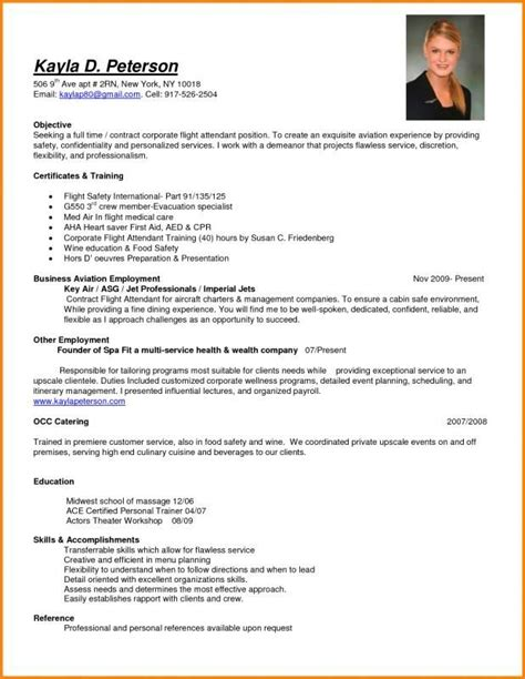 Airline Resume Format by Resume For Flight Attendant Template Flight Attendant