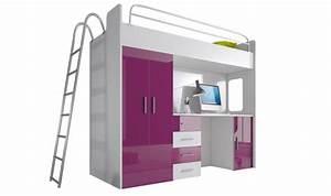 Lit Combiné Armoire : lit combin avec bureau et armoire camille ~ Teatrodelosmanantiales.com Idées de Décoration