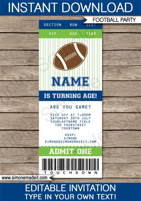green blue football printables invitations decorations