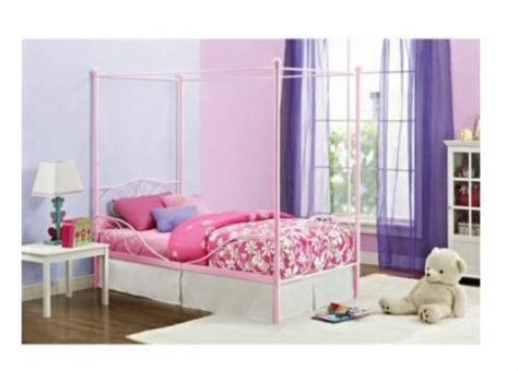 Canopy Bed For Girls Twin Metal Frame Pink Princess Kids