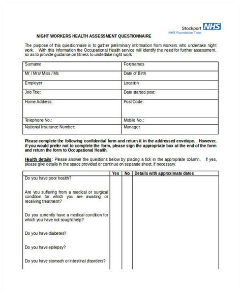 Health Assessment Questionnaire Template by Health Assessment Questionnaire