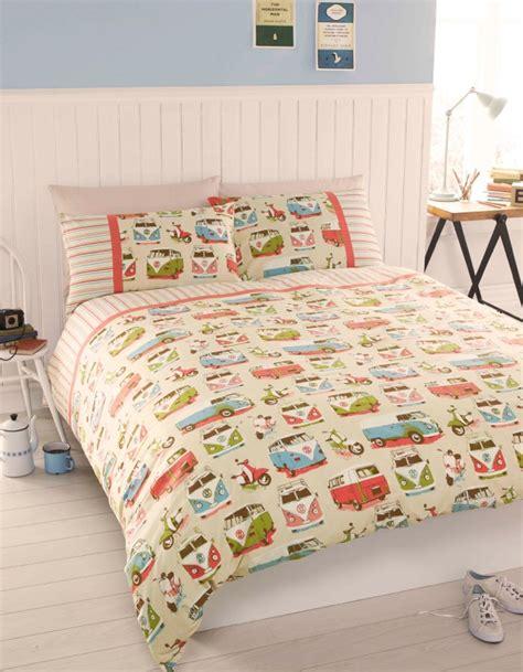retro comforter sets vintage retro vw cervan bedding single or king size quilt cover set ebay