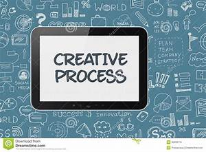 Digital Tablet With Brainstorming Process Background Stock Photo