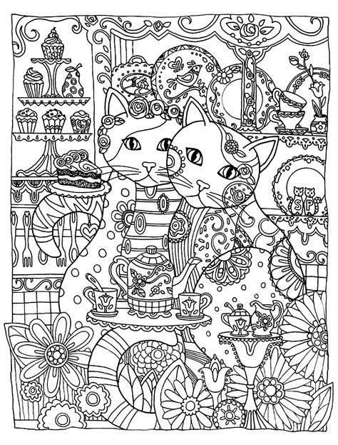 Two cute cats Animals Coloring pages for adults
